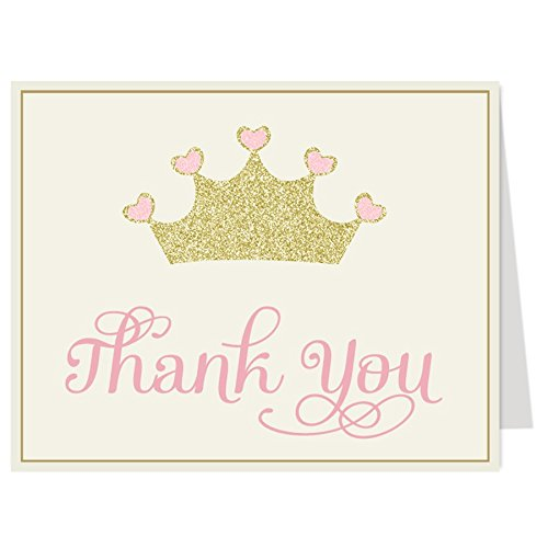 Princess Thank You Cards, Baby Shower, Pink, Gold, Sparkle, Crown, Glitter, Bling, Blush, Tiara, Sprinkle, Kids, Girls, Birthday, 50 Folding Notes with Envelopes, Pretty Princess