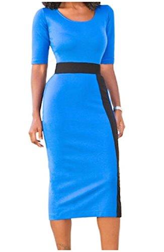 donne Hi Carriera Blocco Blu Coolred Vestito 2 Manica Colore 1 Sexy vita Eleganti gOdRdq