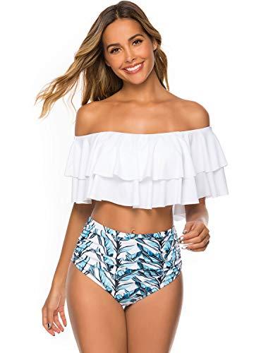 TRENDOUX Bikini Damen Set High Waist Badeanzug Schulter Runter Rüschen mit Bügel Zweiteilige Bademode Frauen Bauchkontrolle Strandkleidung