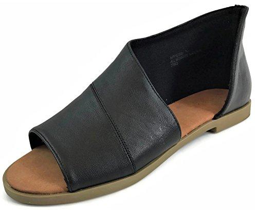Bamboo Fashion Women's Faux Leather Asymmetrical Sandal Open Toe Half D'Orsay Flats Heel, Black, 8