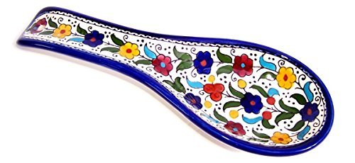 Armenian hand painted cooking Spoon Rest / Ladle Holder - Large with deep Round Cup part (10 inches long by 4 inches across and 1 inch deep) (Colored Flowers) by Jerusalem Imports