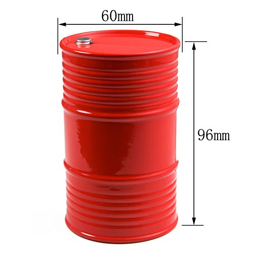 1/10th Plastic Oil Drum / Oil Tank RC Car Truck Decorative Accessory for 1/10 SCX10 CC01 D90 TRX-4 RC Crawler Car Red