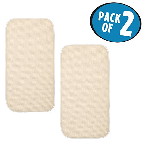 Dish Mat (mDesign Ultra Absorbent Reversible Microfiber Dish Drying Mat and Protector for Kitchen Countertops, Sinks: Folds for Compact Storage, Mini – Pack of 2, Wheat/Ivory, Cream)