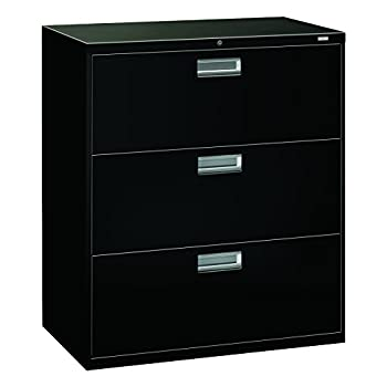 HON Brigade 3-Drawer Filing Cabinet - 600 Series Lateral Legal or Letter File Cabinet, Black (H683)