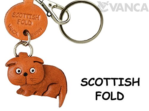 Scottish Fold Leather Cat Small Keychain VANCA CRAFT-Collectible Keyring Charm Pendant Made in (Scottish Key Ring)