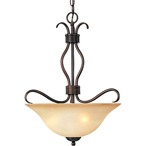 x 3-Light Invert Bowl Pendant, Oil Rubbed Bronze Finish, Wilshire Glass, MB Incandescent Incandescent Bulb , 60W Max., Dry Safety Rating, Standard Dimmable, Metal Shade Material, Rated Lumens ()