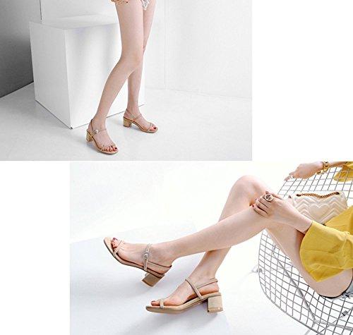 albicocca estate cm Apricot5 con sandalo Scarpe GAIHU medie Tacchi sandali cinture le spesso 5 tacco 5cm Toe Open allacciate Sexy 5 IqzI4w
