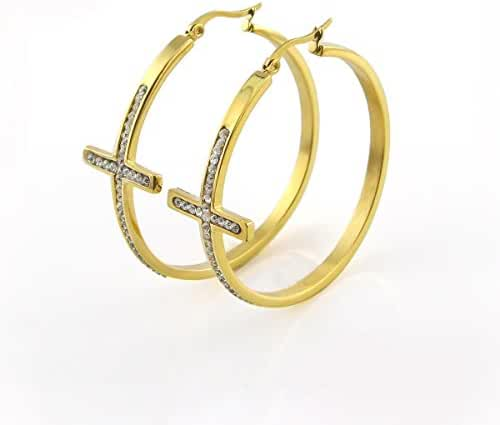 Chokushop Hot Sell! Stainless Steel Cross Hoop Earring Women Girls Fashion Elegant Crystal Earrings