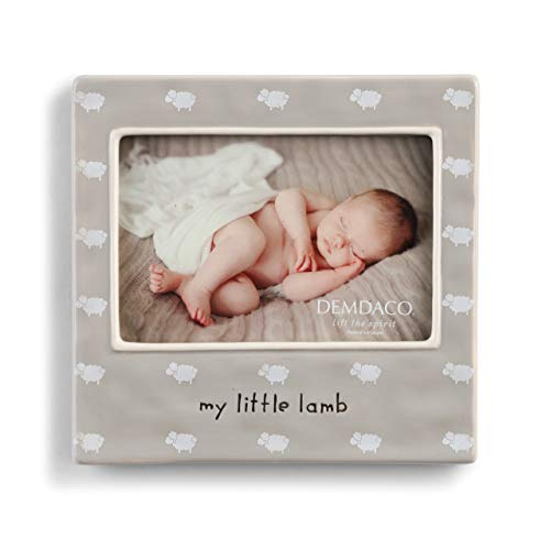 DEMDACO My Little Lamb Soft Grey 7 x 7 Ceramic Earthenware Wall and Tabletop Frame