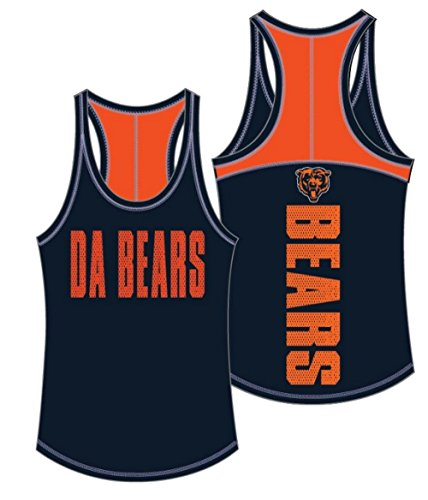 5th & Ocean NFL Chicago Bears Women's Baby Jersey Racer Back Tank Top with Contrasting Colors, Large, Navy