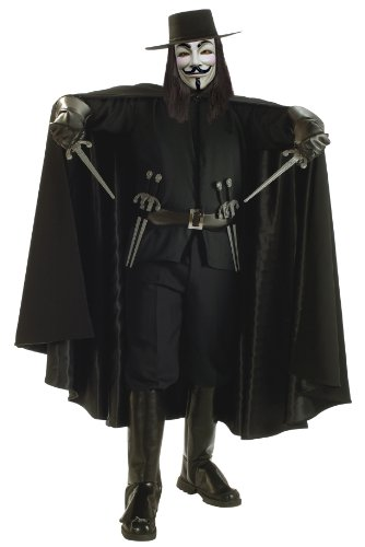 [V for Vendetta Grand Heritage Collection Deluxe V Costume, Black, Standard] (V For Vendetta Costume For Men)