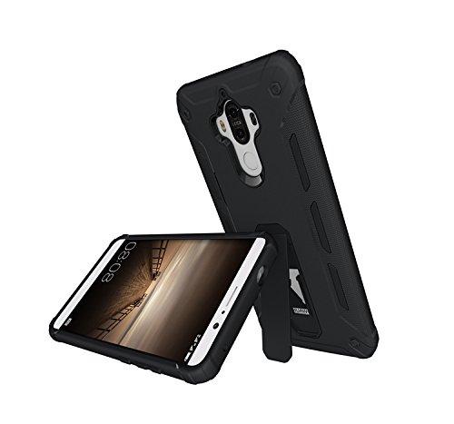 YAJIE-Carcasa Funda Para la funda Huawei Mate 9, Cool Chockproof Armor Hybrid 2 In1 TPU y PC resistente de doble capa con caja de Kickstand ( Color : Rose Gold ) Black