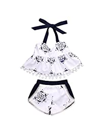 2PC Infant Baby Girl Blue White Porcelain Sleeveless Tops +Tassle Shorts Outfits