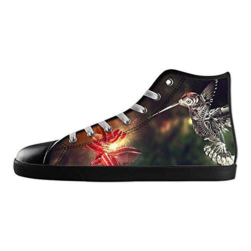 Dalliy Hummingbird And Flower Mens Canvas shoes Schuhe Lace-up High-top Sneakers Segeltuchschuhe Leinwand-Schuh-Turnschuhe B