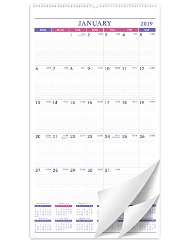 2019 Calendar - Large Wall Calendar 2019 for Home and Office with Federal Holidays, January 2019 - December 2019, Julian Date, Wire-Bound, 17