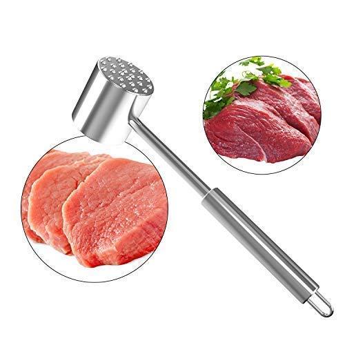 LOVE MEI Heavy Duty Stainless Steel Meat Tenderizer Mallet/Tool/Pounder/Hammer/Beater, Dishwasher Safe Dual-Sided Sturdy Steak Pork Beef Chicken Meat Mallet Hammer Kitchen tools