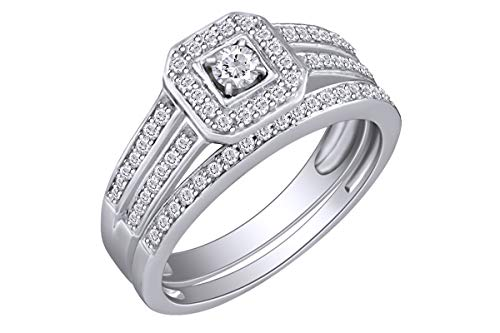 1/2 Carat (Cttw) Round Diamond Halo Bridal Wedding Engagement Ring 14K White Gold Band Set Ring Size-11.5