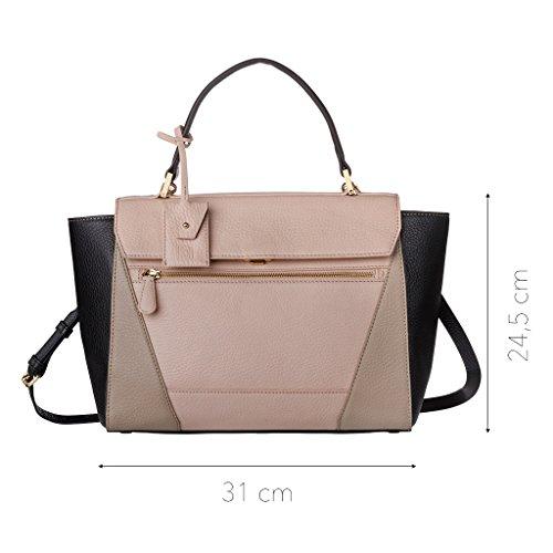 DUDU Handtasche für Damen mit abnehmbarem Träger, Bügeltasche mit Griff und Schnappverschluss Schwarz/Nude/Sand