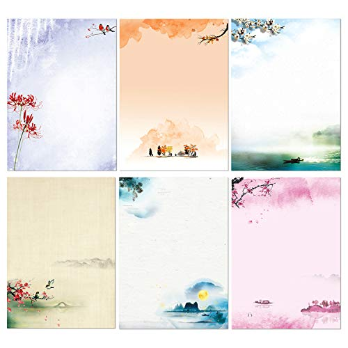 Stationary Set Japanese Stationery Letter Writing Paper, 48 Pack Stationary paper and envelopes set Ink Painting Design - 48 Stationary papers + 24 Sealing Envelopes