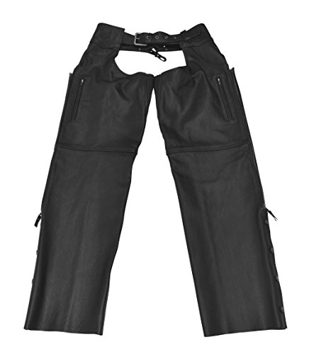 Black Brand Men's Leather Moto Chaps Motorcycle Chaps (Black, XX-Large) by BLACK BRAND