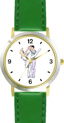 Ballerina and Ballet Dancer Couple No.2 - WATCHBUDDY DELUXE TWO-TONE THEME WATCH - Arabic Numbers - Green Leather Strap-Children's Size-Small ( Boy's Size & Girl's Size ) by WatchBuddy