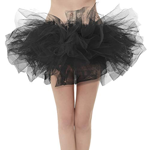 Girstunm Women's Classic Layers Fluffy Costume Tulle Bubble Skirt Black-Standard -