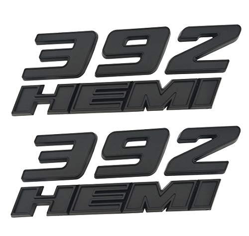 Logo Emblem Srt8 - Yuauto 2 Pack OEM 392 Hemi Emblem Badge Decal 3D Logo for Dodge Challenger Chrysle 300c 3500 SRT8 (Black)