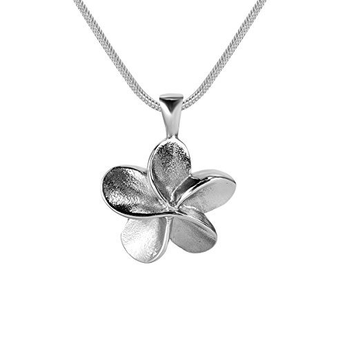 GIONO Cremation Jewelry Plumeria Flower Urn Pendant Memorial Ash Keepsake Stainless Steel