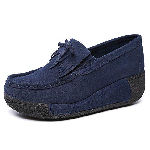 Oto de Cuero Mujer Botas Invierno Plataforma Zapatos Mocasines Deporte Cu o Plano Gamuza Bleu a Zapatillas Fw5vyRq
