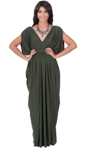 Grecian Style Evening Gowns (KOH KOH Womens Long V-Neck Summer Sexy Gown Party Grecian Flowy Formal Semi Formal Evening Designer Retro Slimming Vintage Pleated Maxi Dress, Color Olive Green, Size Medium M 8-10)