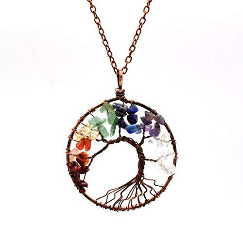 Aukmla Tree of Life Necklace Copper Crystal Pendant with Birthstones Gemstone Chakra Jewelry ()