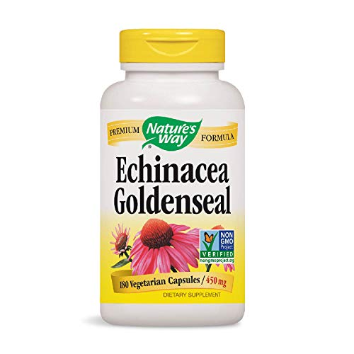 Echinacea Goldenseal Capsules - Nature's Way Echinacea - Goldenseal; 450 mg Echinacea 7 herb blend per serving; Non-GMO Project Verified; 180 Vegetarian Capsules (Packaging May Vary)