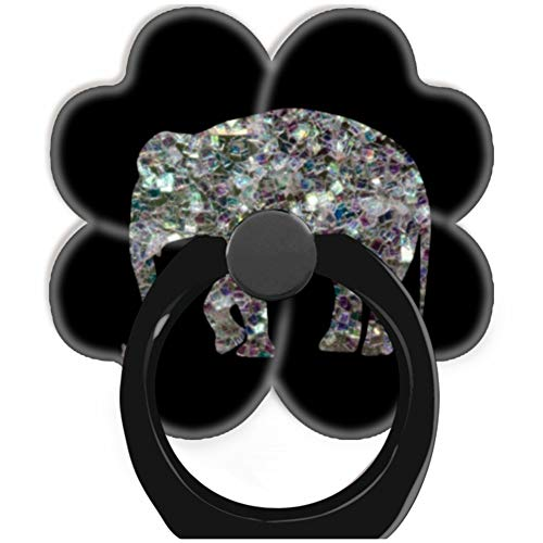 (Blackpink Socket 360 Degree Rotation of Cell Phone Finger Holder Pop Grip Stand with Car Mount Hooks Works for All Smartphones and Tablets Customize Sparkly Colourful Silver Mosaic Elephant Black)