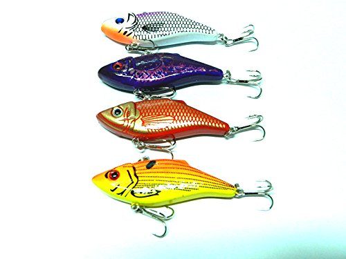 "Hengjia Pack of 8 Sinking Rattling Wiggler VIB Lipless Crankbaits Hard Fishing Lures Vibe Vibration Rattle Hooks for Sea Bass & Trout 7cm/2.75""/10.5g"