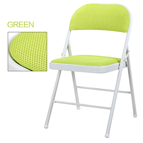 Breathable dining chair / backrest computer chair / casual simple folding chair / dormitory chair / conference chair / portable folding chair / home dinette / five colors optional / ( Color : Green ) by Folding Chair