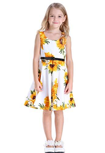 Bow Dream Girls Dresses Retro 1950s Vintage Swing Party Dresses White Sunflower 6