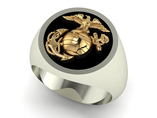 Marine Corps Rings Two Tone Continuum Sterling Silver Round Top Signet Ring with 14K Yellow Gold Eagle Globe and Anchor and Black ()