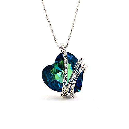 Tidoo Brand Jewelry | Korea Style Austrian Crystal Heart Pendant Necklaces - Forever Love (Light Blue) (Austrian Heart Necklace Pendant Crystal)