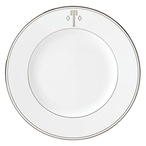 Lenox Federal Platinum Dinner Plate - Lenox Federal Platinum Block Monogram Dinnerware Dinner Plate, T