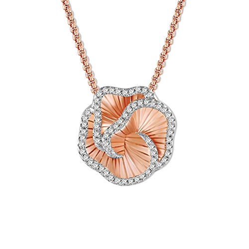 d41ac3aa026 SNZM Flower Necklace Rose Gold 3D Love Rose Pendant Necklace with Cubic  Zirconia Crystals Jewelry for