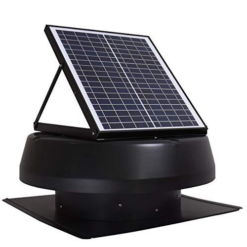 iLIVING Smart Exhaust Solar Roof Attic Exhuast Fan, 14, Black