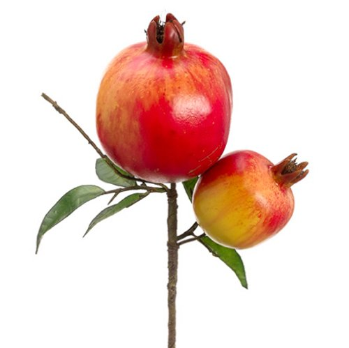 9'' Artificial Pomegranate Pick -Red/Green (pack of 12) by SilksAreForever