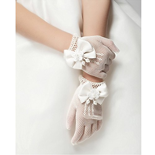 Unilove Flower Girl Gloves White Ivory Lace Short Princess Gloves for Wedding (White)]()
