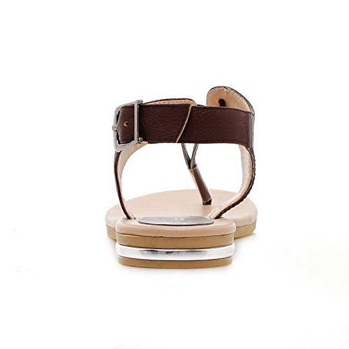 Womens Heels Soft Split Toe Solid Low 1cm Materials Sandals AalarDom Brown Buckle O6wTqdO
