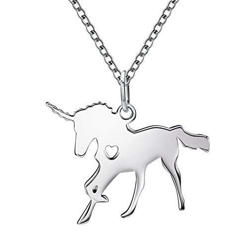 ANUIMOAR 925 Sterling Silver Unicorn Pendant Necklace Dainty Unicorn Jewelry Best Gift for Girls (Unicorn Pendant Necklace)