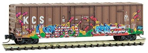 Micro Trains Mtl Z Scale 50Ft Box Car Kansas City Southern Kcs Graffiti  117005