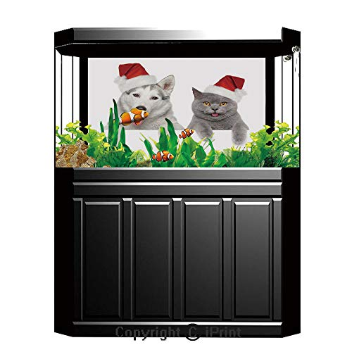 (Blue Wallpaper Sticker Background Decoration,Christmas,Cute Dog and Cat in Santa Red Hats Funny Puppy and Kitty Domestic Pet Animal,White Grey Red,Artistic Portrait Photo Studio Props Video Drape Wall )