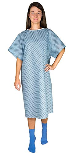 12 Pack - Blue Hospital Gown with Back Tie/Hospital Patient Robes with Ties - One Size Fits All Wholesale (Patient Gown Tie)