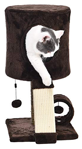 Amazon Basics Cat Tree Tower With Perch Condo – 12 x 12 x 20 Inches, Dark Brown