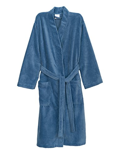 TowelSelections Women's Robe, Fleece Cotton Terry-Lined Water Absorbent Bathrobe Large/X-Large Allure Blue Fleece Lined Water